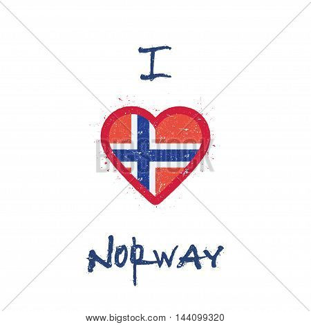 I Love Norway T-shirt Design. Norwegian Flag In The Shape Of Heart On White Background. Grunge Vecto