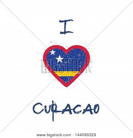 I Love Curacao T-shirt Design. Dutch Flag In The Shape Of Heart On White Background. Grunge Vector I