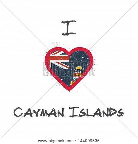I Love Cayman Islands T-shirt Design. Caymanian Flag In The Shape Of Heart On White Background. Grun