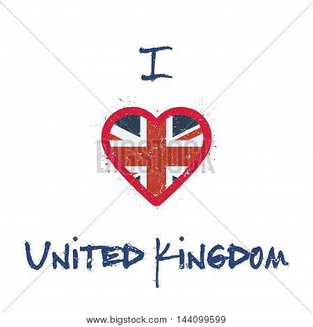 I Love United Kingdom T-shirt Design. British Flag In The Shape Of Heart On White Background. Grunge