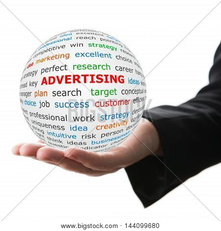 Advertising concept. Hand take white ball with wordcloud and advertising word in red color.