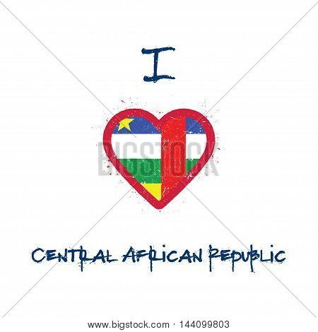 I Love Central African Republic T-shirt Design. Central African Flag In The Shape Of Heart On White