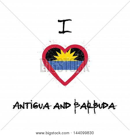 I Love Antigua And Barbuda T-shirt Design. Antiguan, Barbudan Flag In The Shape Of Heart On White Ba