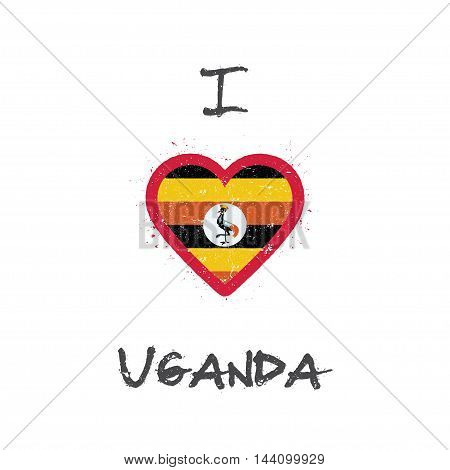I Love Uganda T-shirt Design. Ugandan Flag In The Shape Of Heart On White Background. Grunge Vector