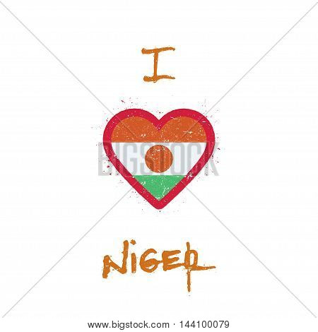 I Love Niger T-shirt Design. Nigerian Flag In The Shape Of Heart On White Background. Grunge Vector