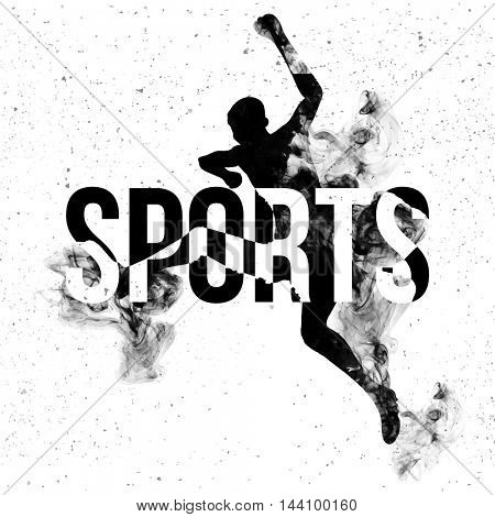 Sports typographic background with illustration of a jumping man made by abstract design, Can be used as Poster, Banner or Flyer also.