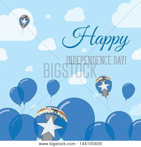 Northern Mariana Islands Independence Day Flat Patriotic Design. American Flag Balloons. Happy Natio
