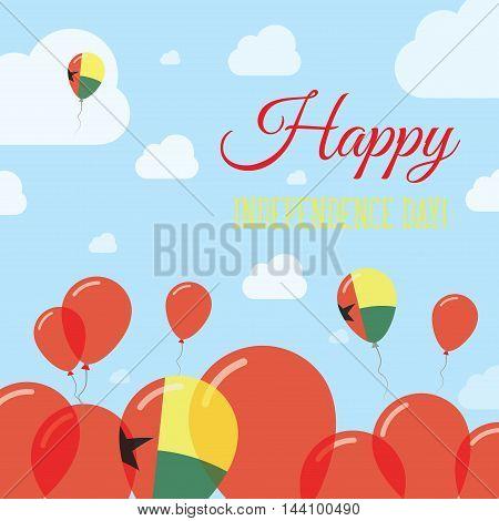 Guinea-bissau Independence Day Flat Patriotic Design. Guinea-bissauan Flag Balloons. Happy National