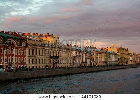 Griboyedov canal in Saint Petersburg at sunset. Historical buildings in the city center