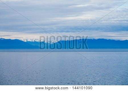 A Blue Dawn in Alaska with Mountains