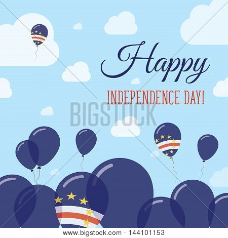 Cape Verde Independence Day Flat Patriotic Design. Cape Verdian Flag Balloons. Happy National Day Ve
