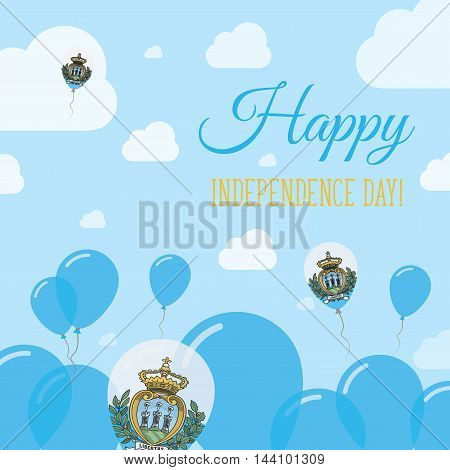 San Marino Independence Day Flat Patriotic Design. Sammarinese Flag Balloons. Happy National Day Vec