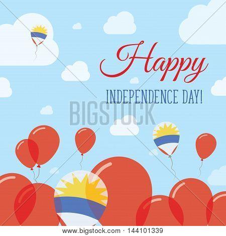 Antigua And Barbuda Independence Day Flat Patriotic Design. Antiguan, Barbudan Flag Balloons. Happy