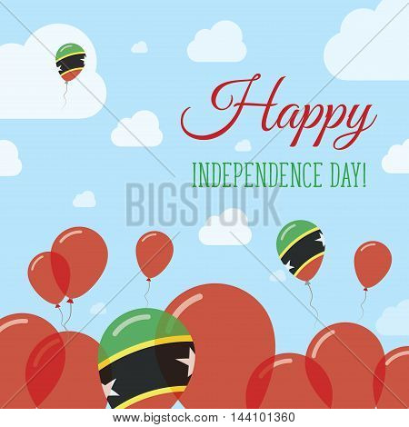 Saint Kitts And Nevis Independence Day Flat Patriotic Design. Kittian And Nevisian Flag Balloons. Ha