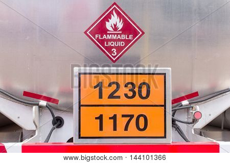 Flammable liquid tank on truck, industrial and logistic concept