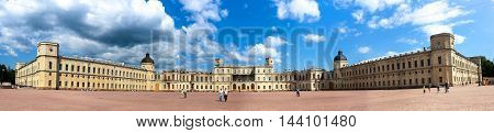 Great Gatchina Palace in Saint Petersburg, Russia. Famous landmark with cloudy blue sky