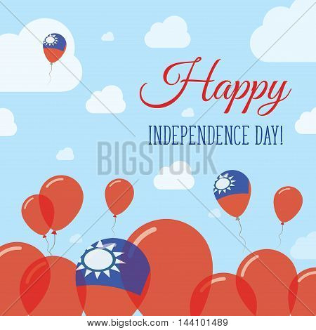 Taiwan, Republic Of China Independence Day Flat Patriotic Design. Taiwanese Flag Balloons. Happy Nat