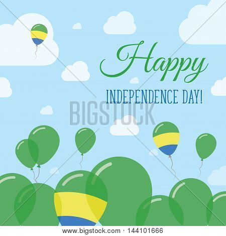 Gabon Independence Day Flat Patriotic Design. Gabonese Flag Balloons. Happy National Day Vector Card