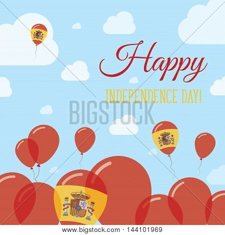 Spain Independence Day Flat Patriotic Design. Spanish Flag Balloons. Happy National Day Vector Card.