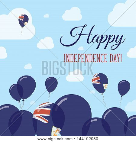 Anguilla Independence Day Flat Patriotic Design. Anguillian Flag Balloons. Happy National Day Vector
