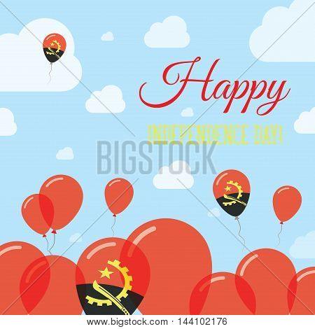 Angola Independence Day Flat Patriotic Design. Angolan Flag Balloons. Happy National Day Vector Card