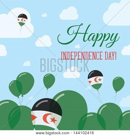 Western Sahara Independence Day Flat Patriotic Design. Sahrawi Flag Balloons. Happy National Day Vec
