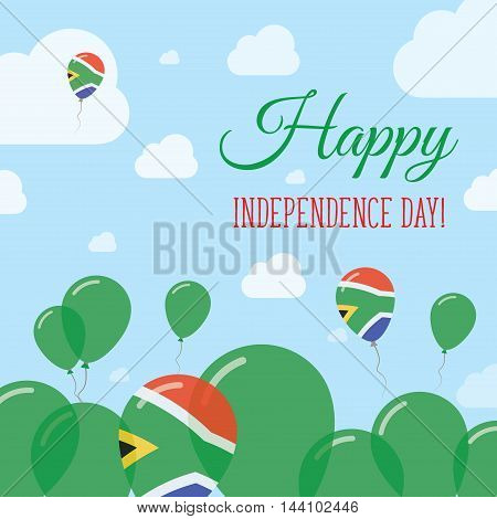 South Africa Independence Day Flat Patriotic Design. South African Flag Balloons. Happy National Day
