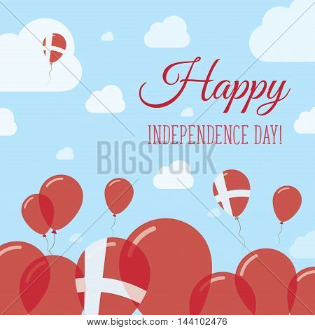 Denmark Independence Day Flat Patriotic Design. Danish Flag Balloons. Happy National Day Vector Card