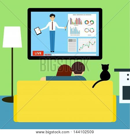 Couple And Cat Watching Business News On Television Sitting On Couch In Room.