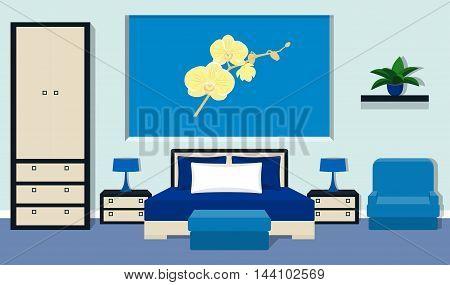 Bedroom interior in blue colors. Vector illustration.