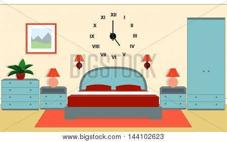 Bedroom interior with furniture - bed nightstands bedside lamps wardrobe chest of drawers in blue and red colors. Vector illustration.