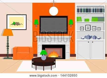 Interior living room with a fireplace in the orange colors. Vector illustration.