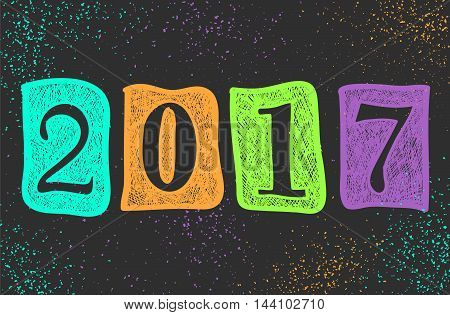 New Year 2017 doodle sign abstract background. Sketch holiday wallpaper. Year of fire rooster. Vector image can be used for web design trendy printed products posters and cards.