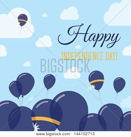 Nauru Independence Day Flat Patriotic Design. Nauruan Flag Balloons. Happy National Day Vector Card.
