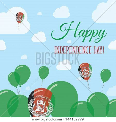 Afghanistan Independence Day Flat Patriotic Design. Afghan Flag Balloons. Happy National Day Vector