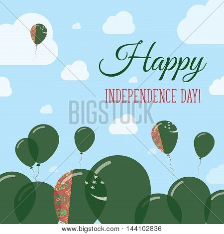 Turkmenistan Independence Day Flat Patriotic Design. Turkmen Flag Balloons. Happy National Day Vecto