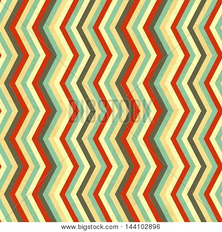 Zigzag stripes in retro colours abstract seamless pattern