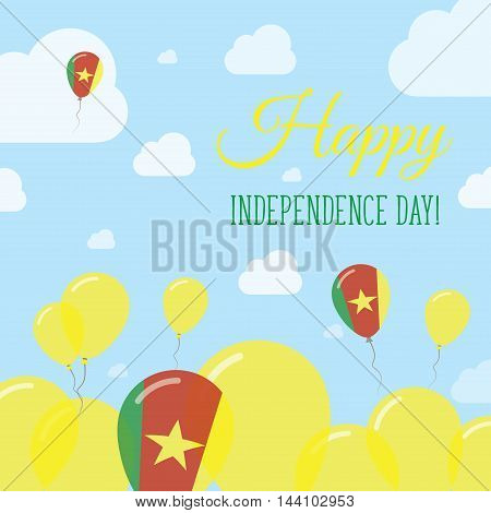 Cameroon Independence Day Flat Patriotic Design. Cameroonian Flag Balloons. Happy National Day Vecto