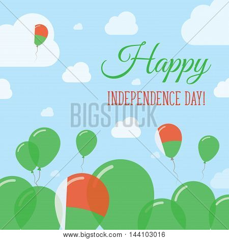 Madagascar Independence Day Flat Patriotic Design. Malagasy Flag Balloons. Happy National Day Vector