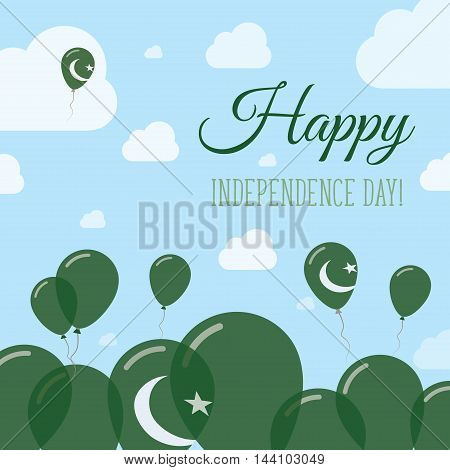 Pakistan Independence Day Flat Patriotic Design. Pakistani Flag Balloons. Happy National Day Vector
