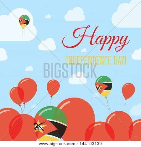 Mozambique Independence Day Flat Patriotic Design. Mozambican Flag Balloons. Happy National Day Vect
