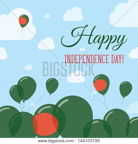 Bangladesh Independence Day Flat Patriotic Design. Bangladeshi Flag Balloons. Happy National Day Vec