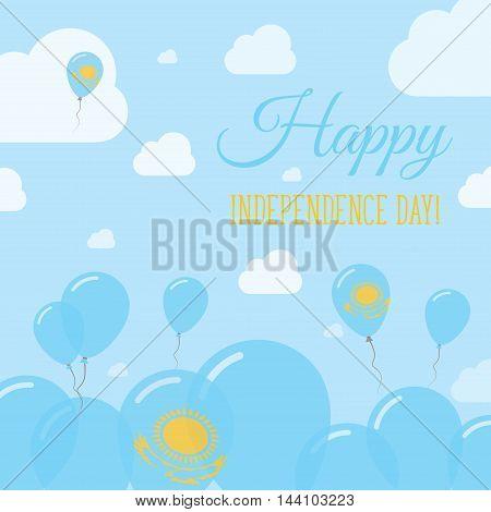 Kazakhstan Independence Day Flat Patriotic Design. Kazakhstani Flag Balloons. Happy National Day Vec