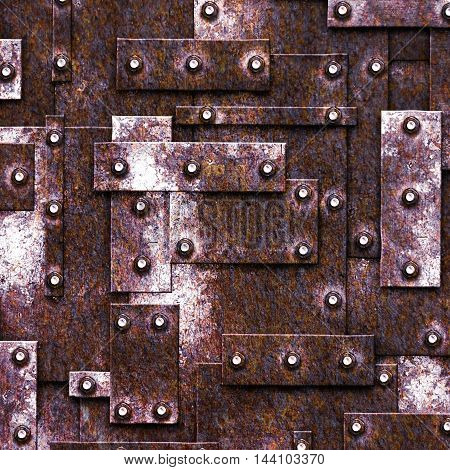 rusty fix wall. grunge metal background and texture. 3d illustration.