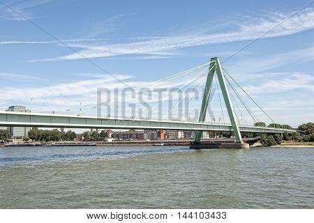 The Severin bridge over the Rhine River in Cologne North Rhine-Westphalia Germany