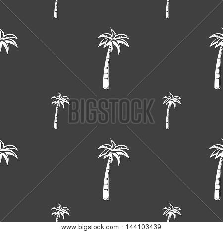 Palm Sign. Seamless Pattern On A Gray Background. Vector