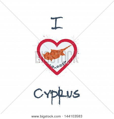 I Love Cyprus T-shirt Design. Cypriot Flag In The Shape Of Heart On White Background. Grunge Vector