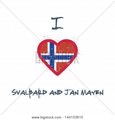 I Love Svalbard And Jan Mayen T-shirt Design. Norwegian Flag In The Shape Of Heart On White Backgrou