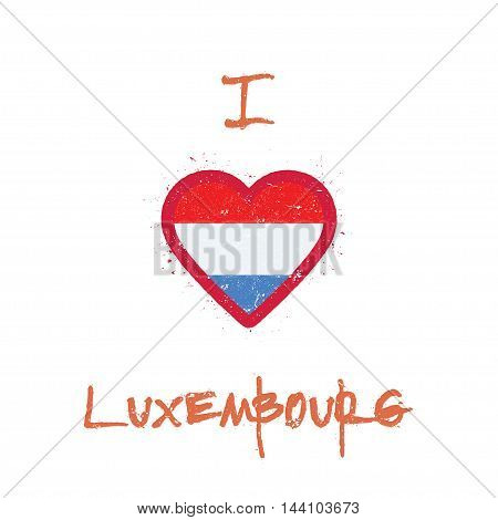 I Love Luxembourg T-shirt Design. Luxembourger Flag In The Shape Of Heart On White Background. Grung