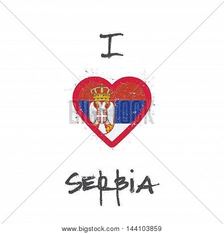 I Love Serbia T-shirt Design. Serbian Flag In The Shape Of Heart On White Background. Grunge Vector